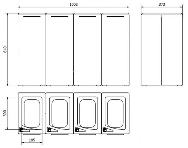 Система сортировки мусора Jofel AL707050 из четырех бункеров - размеры