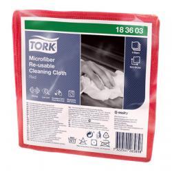 Салфетки Tork Microfiber Re-Usable Cleaning Cloth, красный