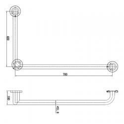 Поручень Jofel AV70400, 400x700 мм, L-образный правый